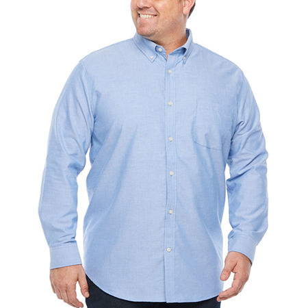 The Foundry Big & Tall Supply Co. Big and Tall Mens Long Sleeve Button-Down Shirt, Large Tall , Blue