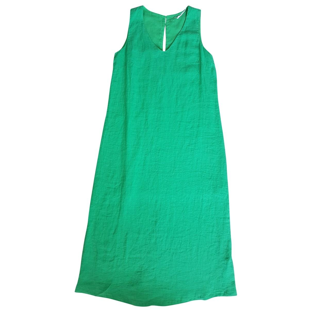 120% Lino \N Kleid in  Gruen Leinen