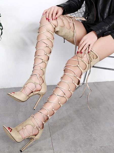 Milanoo Women Gladiator Sandals Apricot Open Toe Stiletto Heel Lace Up Sandal Shoes Nubuck High Heel Sandals