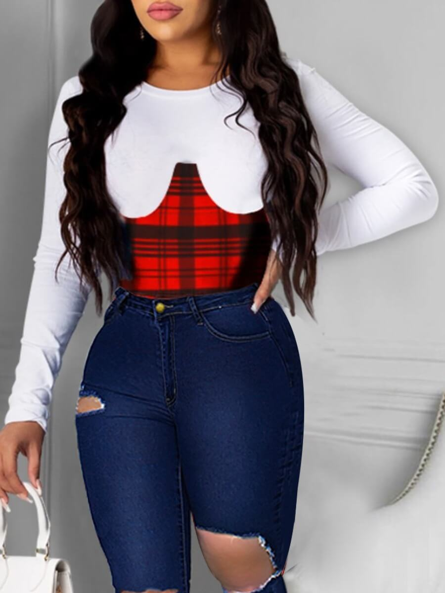 LW Lovely Sweet Plaid Print Patchwork Red T-shirt