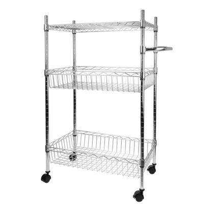 Storage Rack Organizer With Wheels Steel Chrome Basket Shelves 3-Tier, 37