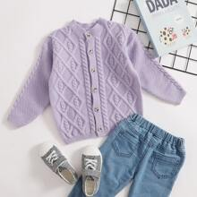 Toddler Girls Solid Cable Knit Cardigan