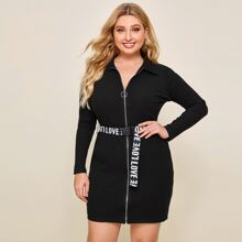 Plus Rib-knit Zipper Placket Dress With Letter Push Buckle Belted