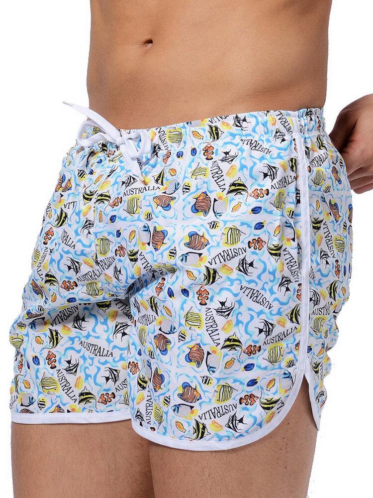 Men Floral Printing Loose Shorts Quick Drying Sport Shorts Loose Swim Shorts