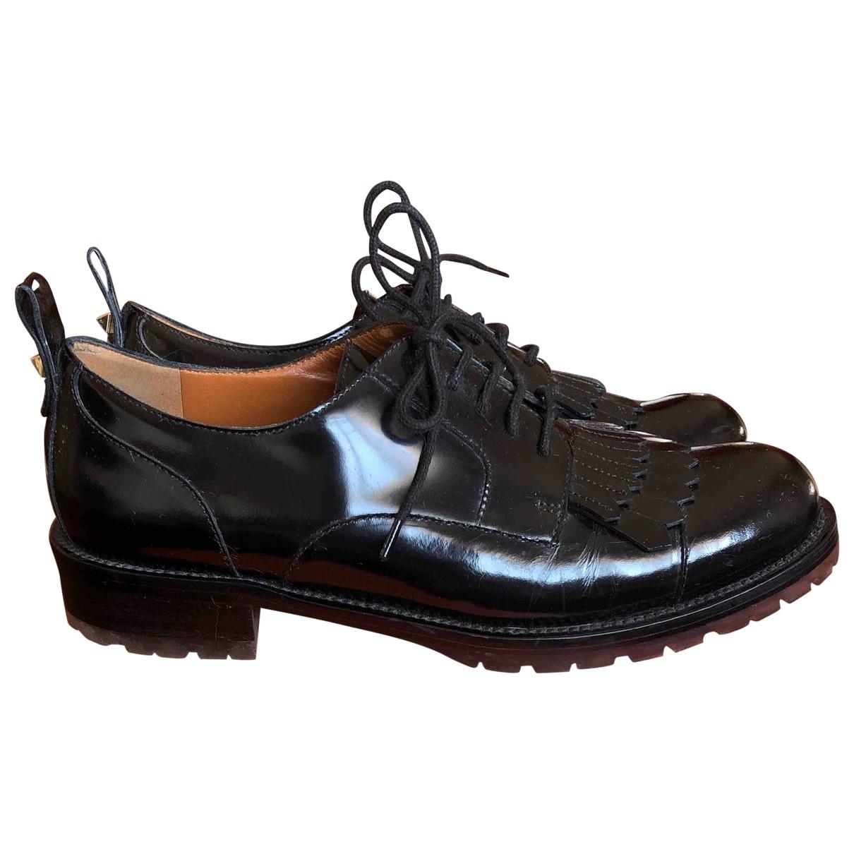 Valentino Garavani Rockstud Black Patent leather Lace ups for Women 38.5 EU