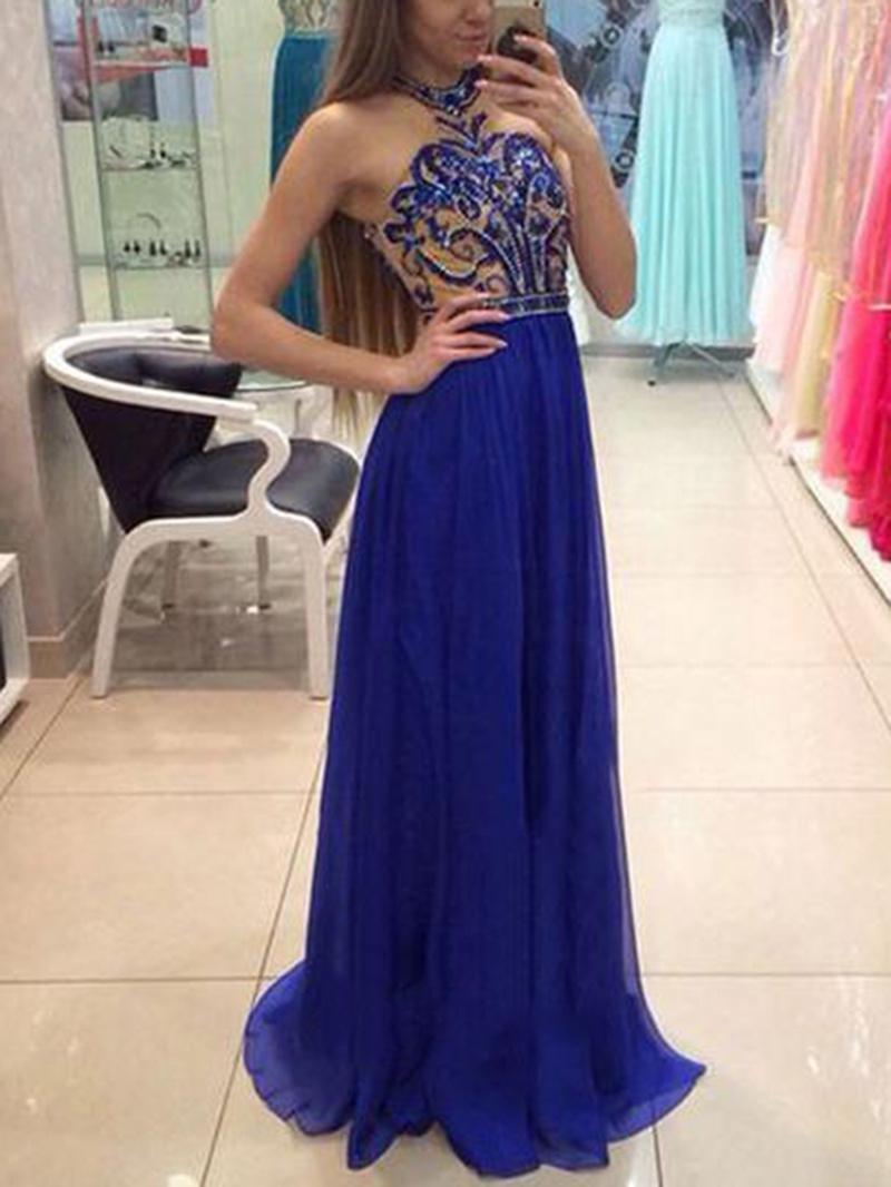 Ericdress Floor-Length Beading Halter A-Line Evening Dress