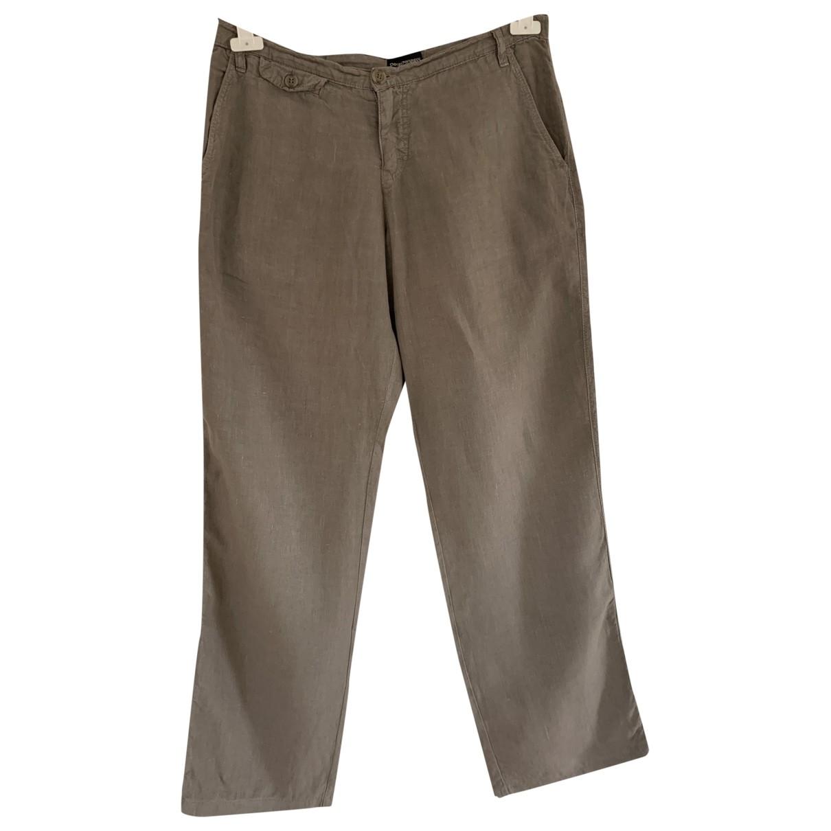 Emporio Armani \N Khaki Linen Trousers for Men 50 IT