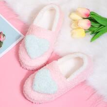 Round Toe Heart Decor Fluffy Slippers