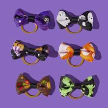 6 piezas goma de pelo de perro de halloween
