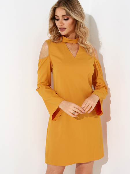 Yoins Yellow Cold Shoulder Long Sleeves Cut-out Design Dress