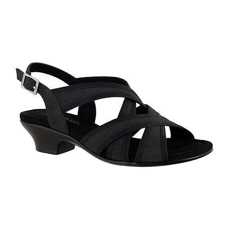 Easy Street Womens Viola Heeled Sandals, 6 Medium, Black