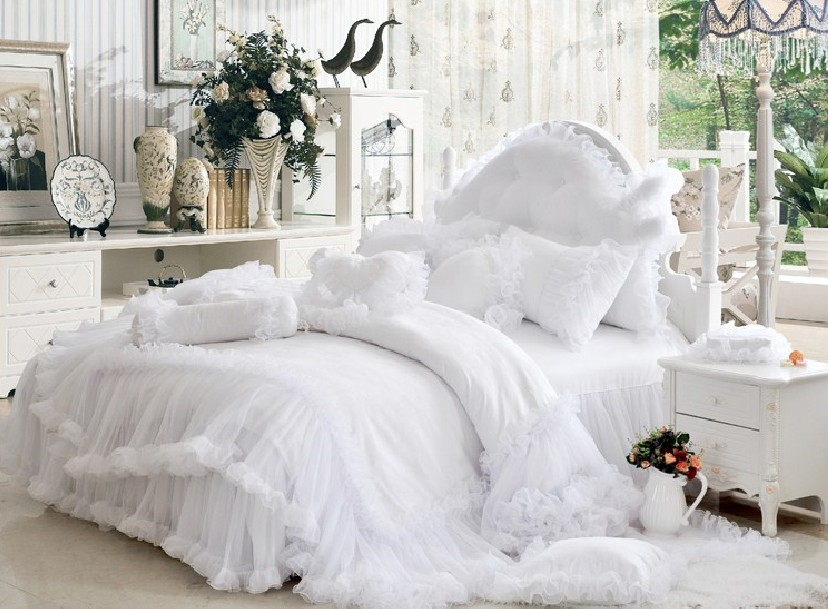Cinderella Lace Pure Color Cotton 4-Piece Bedding Sets/Duvet Cover