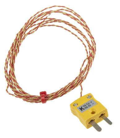RS PRO Type K Thermocouple 2m Length, 1/0.3mm Diameter → +250°C