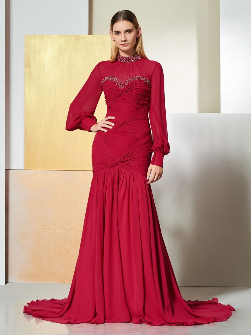 Ericdress Long Sleeve High Neck Mermaid Evening Dress With Beadings