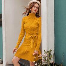 Ruffle Hem Belted Sweater Dress