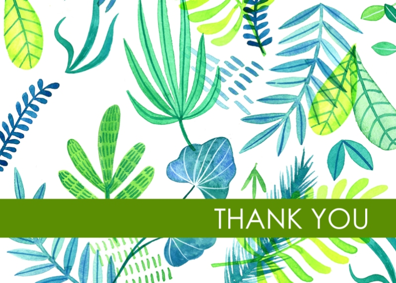 Thank You Cards 5x7 Folded Cards, Standard Cardstock 85lb, Card & Stationery -Botanical Thank You