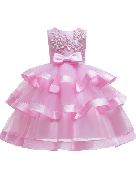 Milanoo Flower Girl Dresses Jewel Neck Polyester Cotton Sleeveless Knee Length Princess Silhouette Bows Formal Kids Pageant Dresses