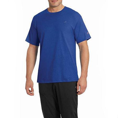 Champion Classic Jersey Mens Crew Neck Short Sleeve T-Shirt, Small , Blue