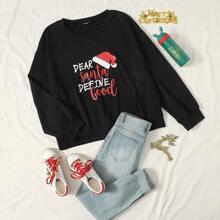 Sweatshirt mit Weihnachten und Buchstaben Grafik