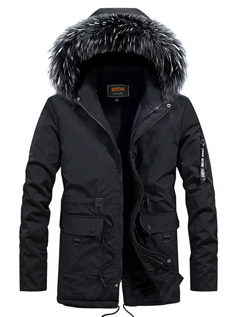 Ericdress Plain Fur Hooded Mid-Length Pocket Mens Casual Down Jacket