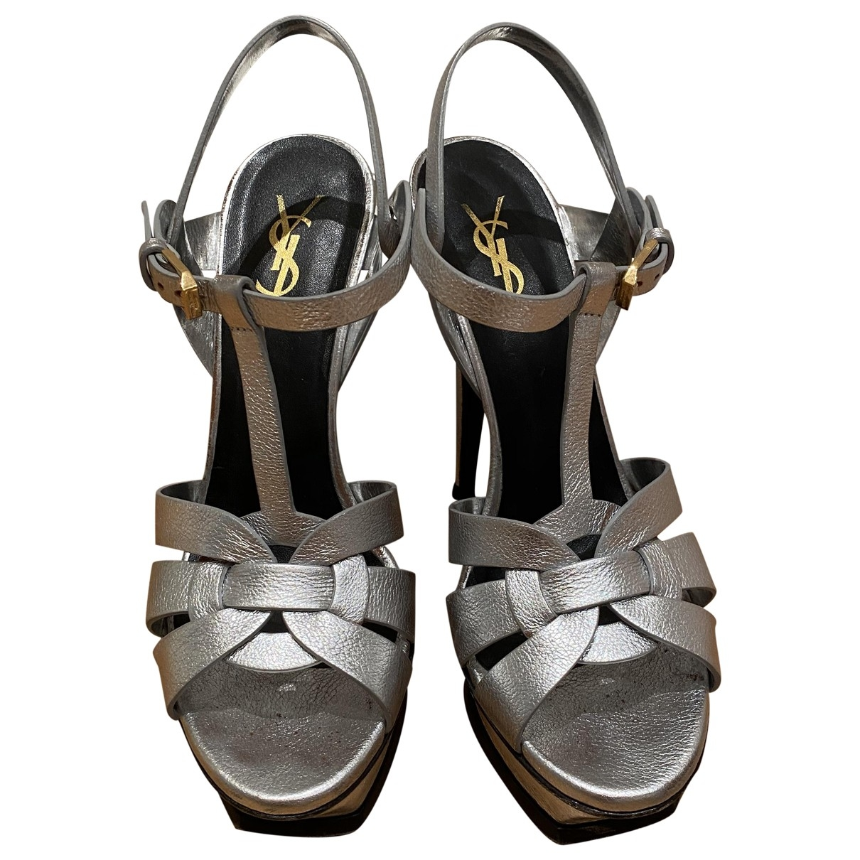 Saint Laurent Tribute Sandalen in  Silber Leder