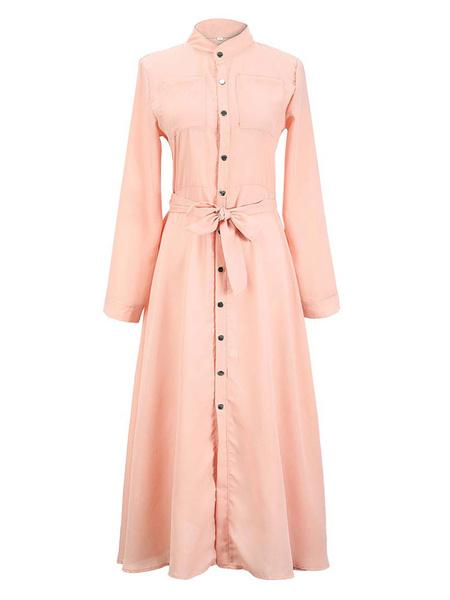 Milanoo Vestidos largos de mujer Botones de cuello alto de tiro alto Vestido camisero de manga larga hasta el suelo