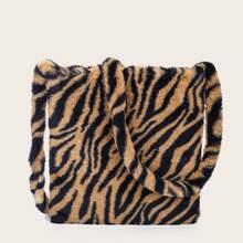 Bolso bandolera mullido con estampado de tigre
