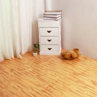 Costway 12Pc Wood Grain Interlocking Floor Mats 3/8 Inch Printed Foam Tiles 24 X 24 Inch - Multi (Multi)