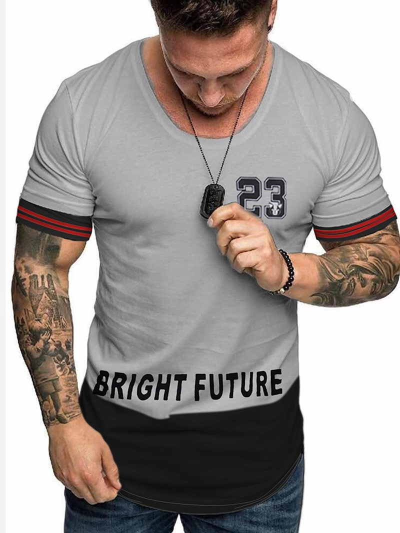 Ericdress Number Print Casual Loose Mens T-shirt