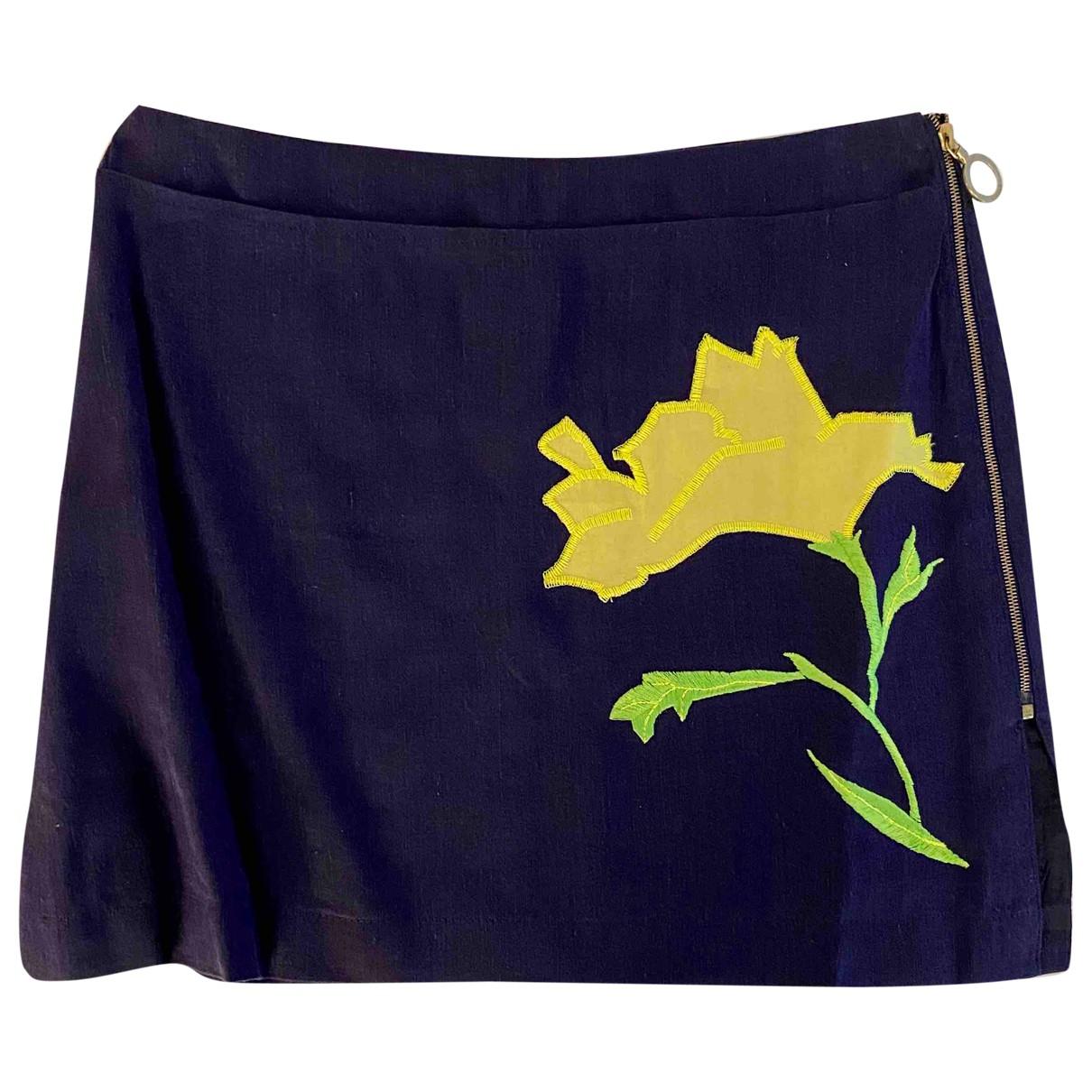Versus \N Blue Linen skirt for Women 38 FR