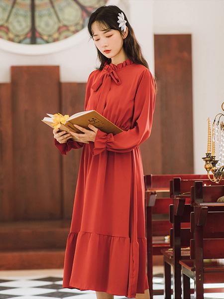 Milanoo Academic Lolita OP Dress Lavender Long Sleeve Polyester Lolita One Piece Dresses