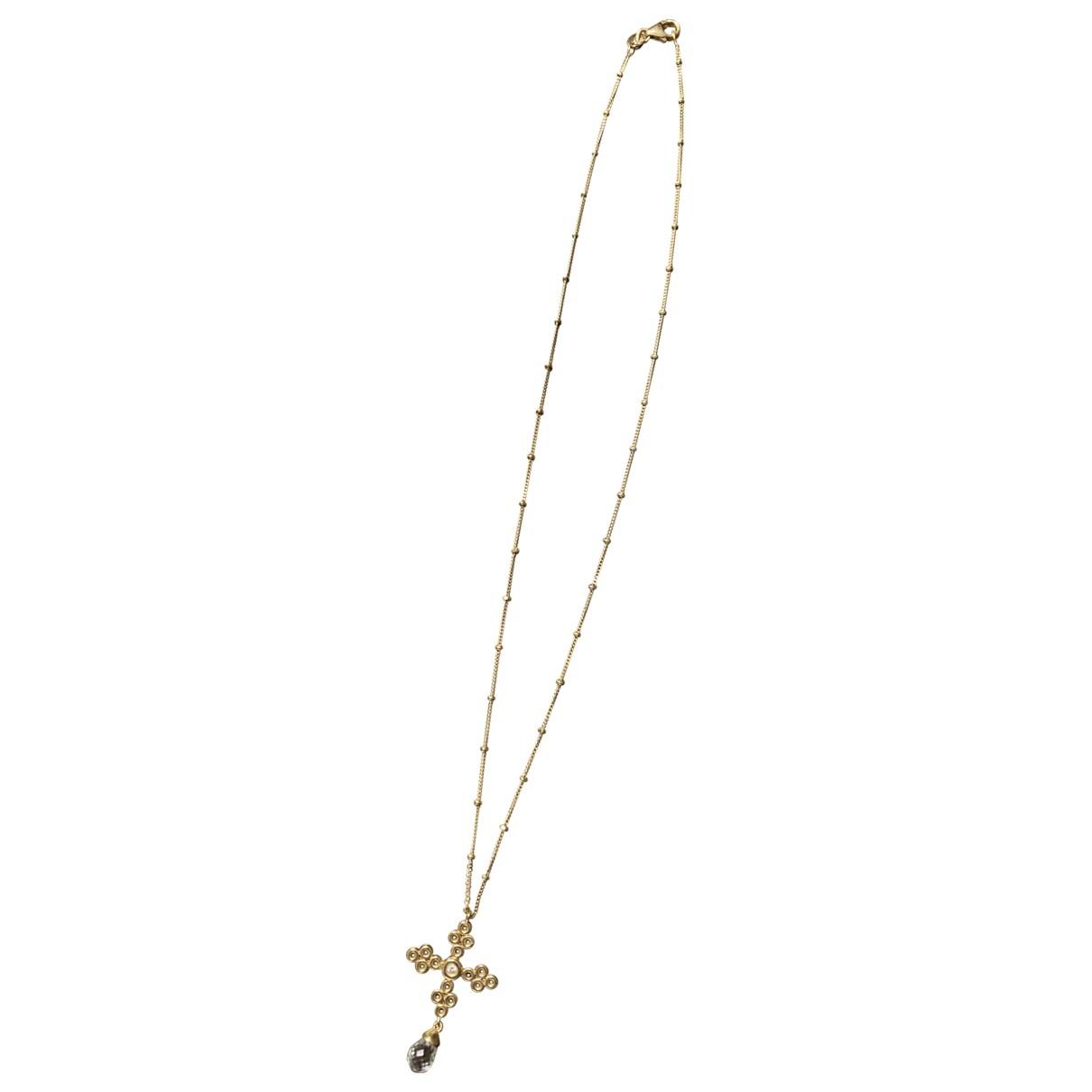 - Pendentif Croix pour femme en or jaune - dore
