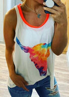 Tie Dye Steer Skull Tank without Necklace - White
