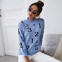 Pullover mit Nummer Muster und Stehkragen