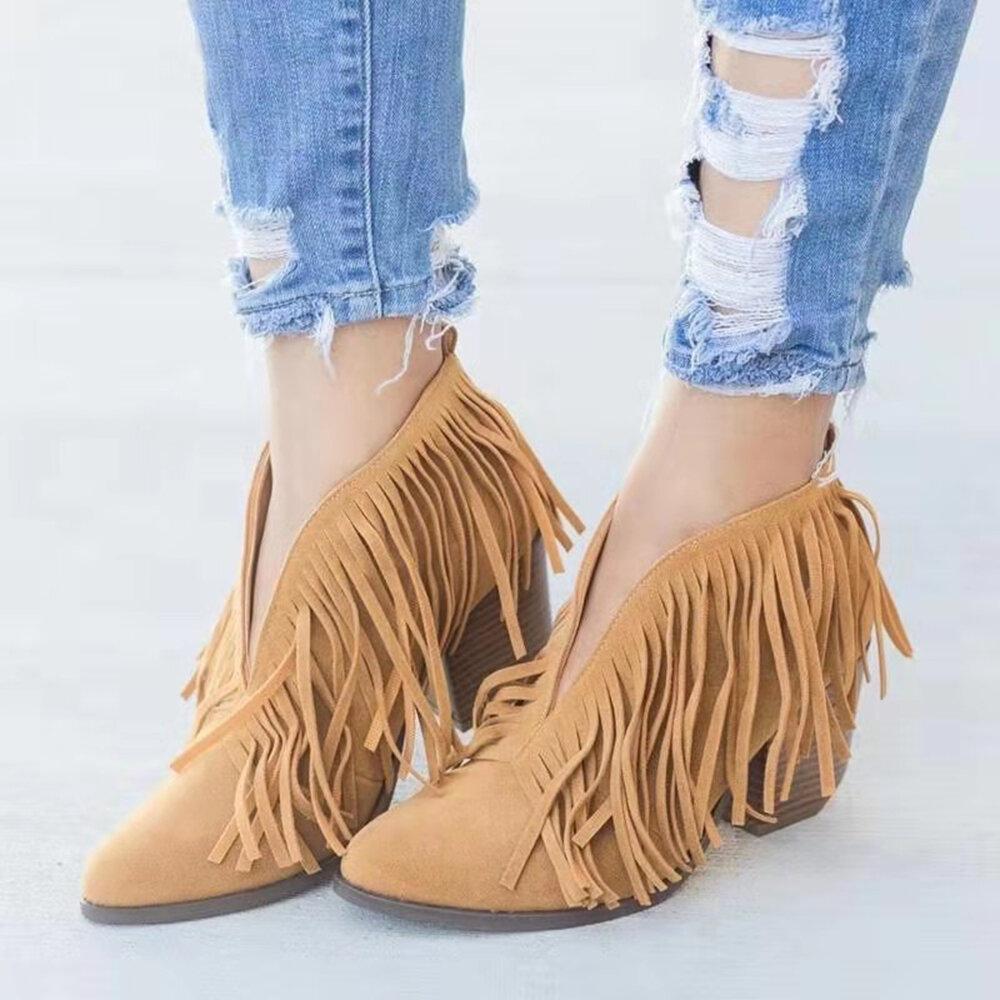 Women Tassel V Shape Slip On Chunky Heel Ankle Boots