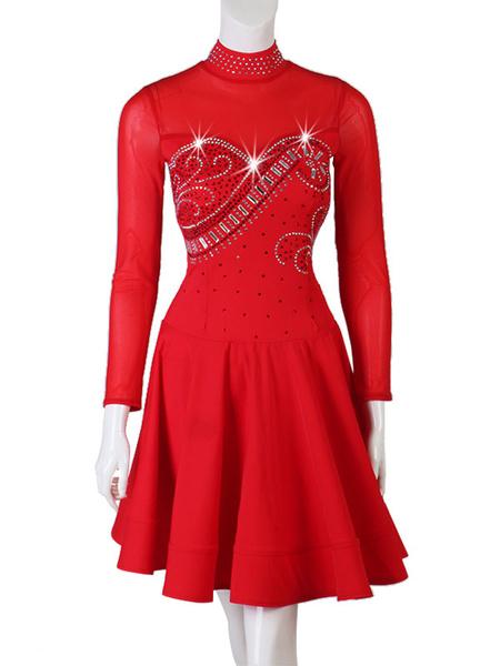 Milanoo Disfraz Halloween Traje de baile latino Rhinestone Cuello alto Rojo Traje de baile de bailarina latina Halloween