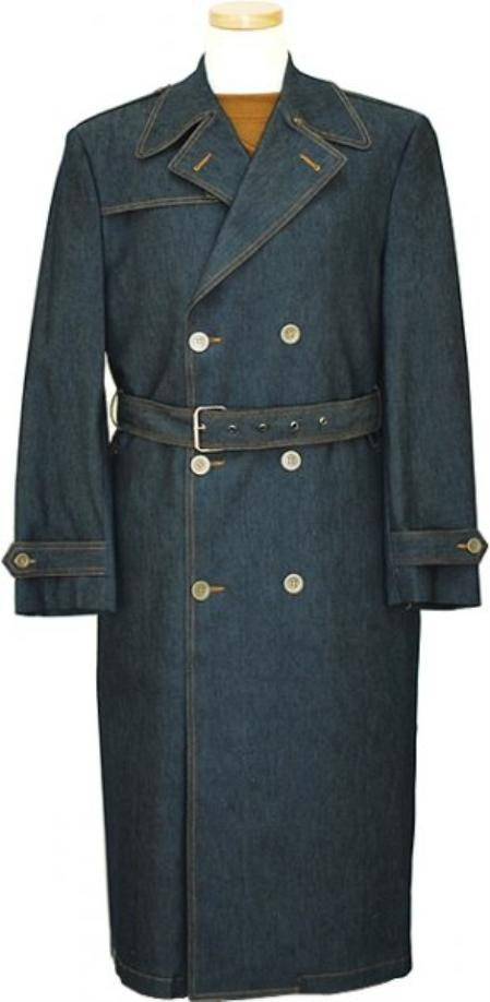 Double breasted Blue Denim Long Trench Coat Mens