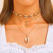 Shell Decor Chain Necklace 2pcs