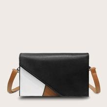 Color-block Flap Crossbody Bag