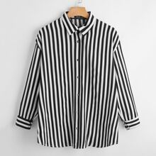 Plus Vertical Striped Button Up Blouse