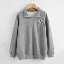 Half-zip Skull Graphic Sweatshirt