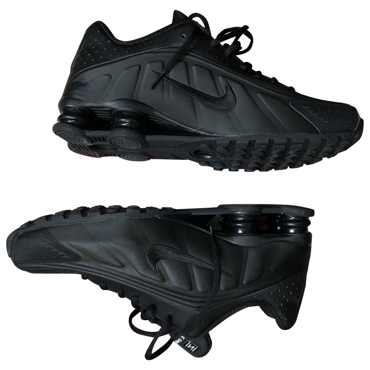 Nike Shox Black Leather Trainers for Men 44.5 EU