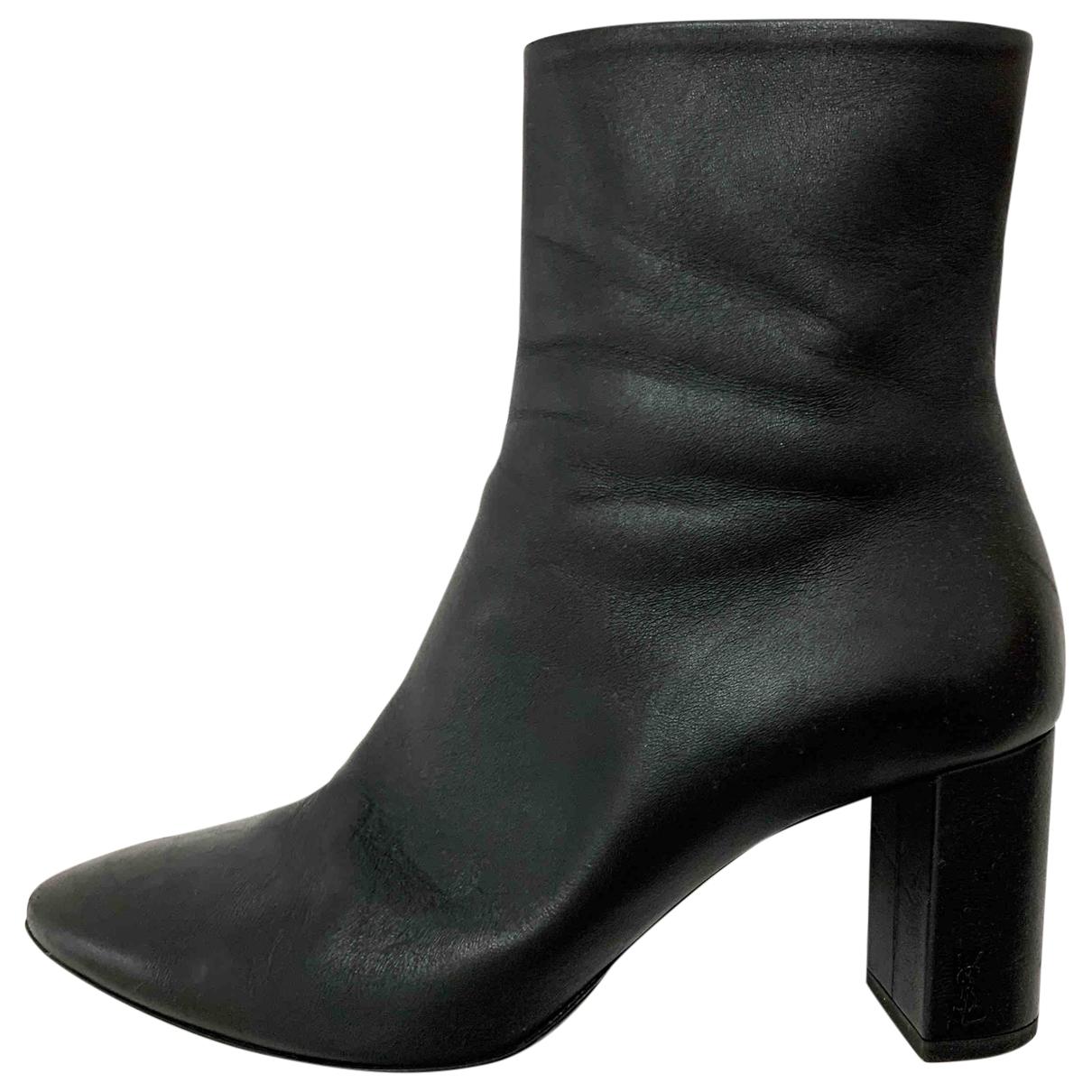 Saint Laurent - Bottes Lou pour femme en cuir - noir