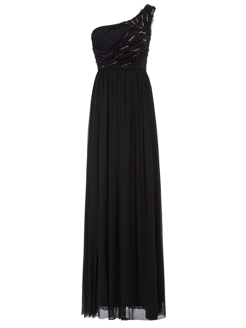 Ericdress A-Line Draped Pleats One-Shoulder Floor-Length Evening Dress