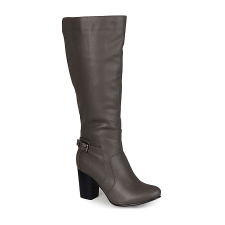 Journee Collection Womens Carver Wide Calf Boots, 8 1/2 Medium, Gray