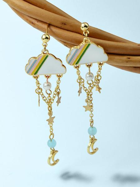 Milanoo Earrings Blond Chains Zinc Alloy Imitation Pearl Pierced Women Jewelry