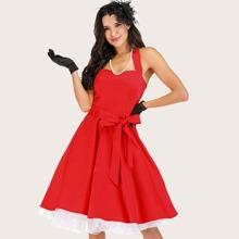 Dressystar Lace Up Back Belted Halter Dress