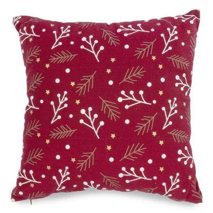 Coussin rouge à motif feuillage 17 x 17