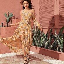 Chiffon Kleid mit asymmetrischem Kragen, Raffungsaum, Guertel und Blumen Muster