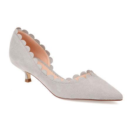 Journee Collection Womens Taavi Pumps Kitten Heel, 6 1/2 Medium, Gray